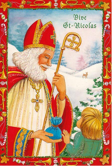 Carte Ancienne Vive Saint Nicolas Avec Enfant Saint Nicholas