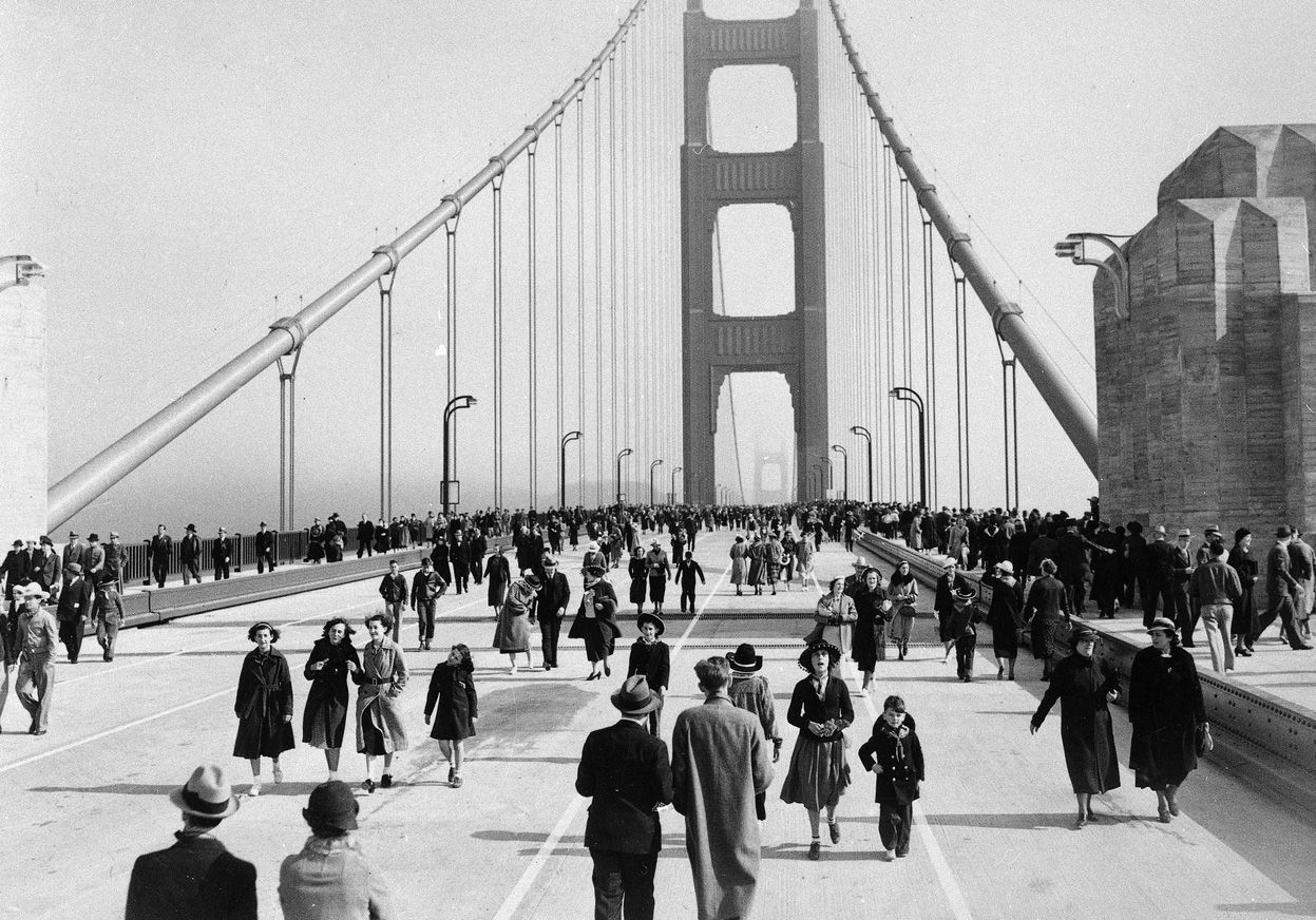 The Golden Gate Bridge on its opening day in San Francisco, May 27th, 1937.