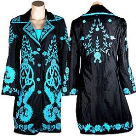 Black Silk Coat with Turquoise Embroidery - JACKETS & VESTS - LADIES | Pinto Ranch