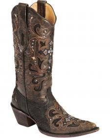 5c14b1506f3 Corral Crystal Cross Python Cowgirl Boots - Pointed Toe | My Style ...