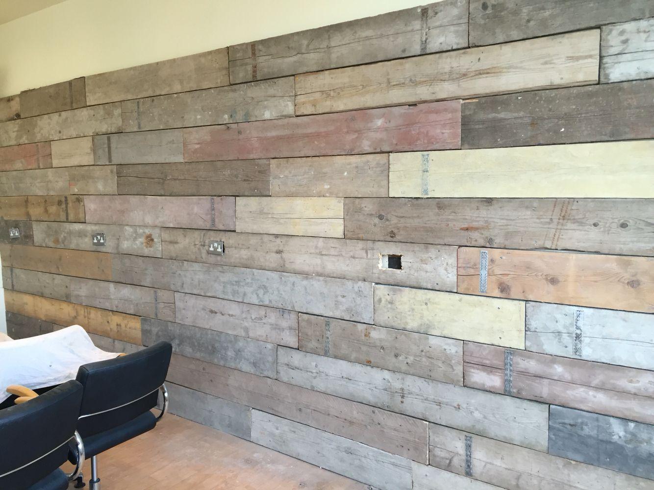 One wall classes in reclaimed scaffold boards | Wall ...