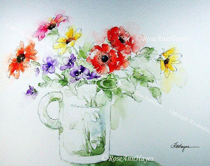 Fleurs En Verre Mug Impression De Peinture A L Aquarelle Jardin