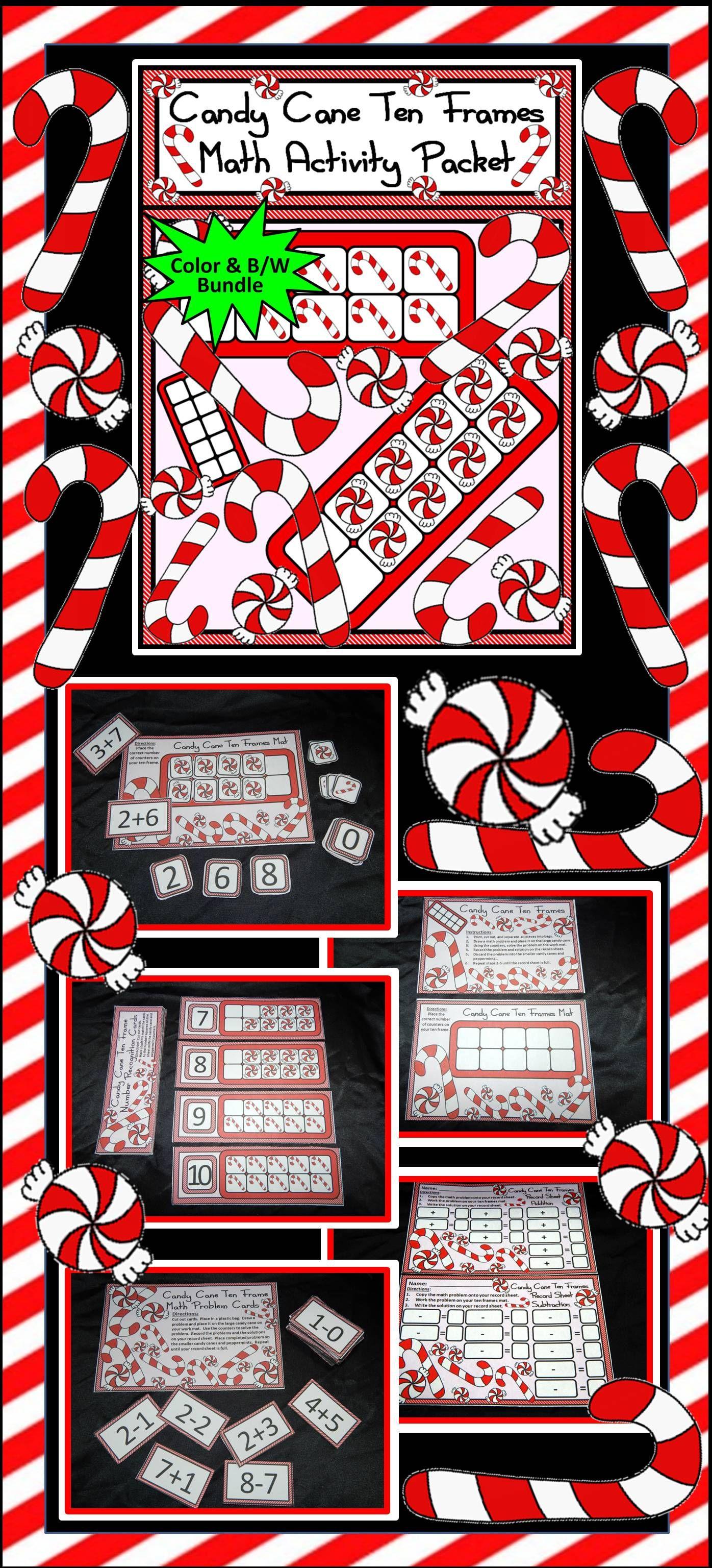 Christmas Math Activities Candy Cane Christmas Ten Frames