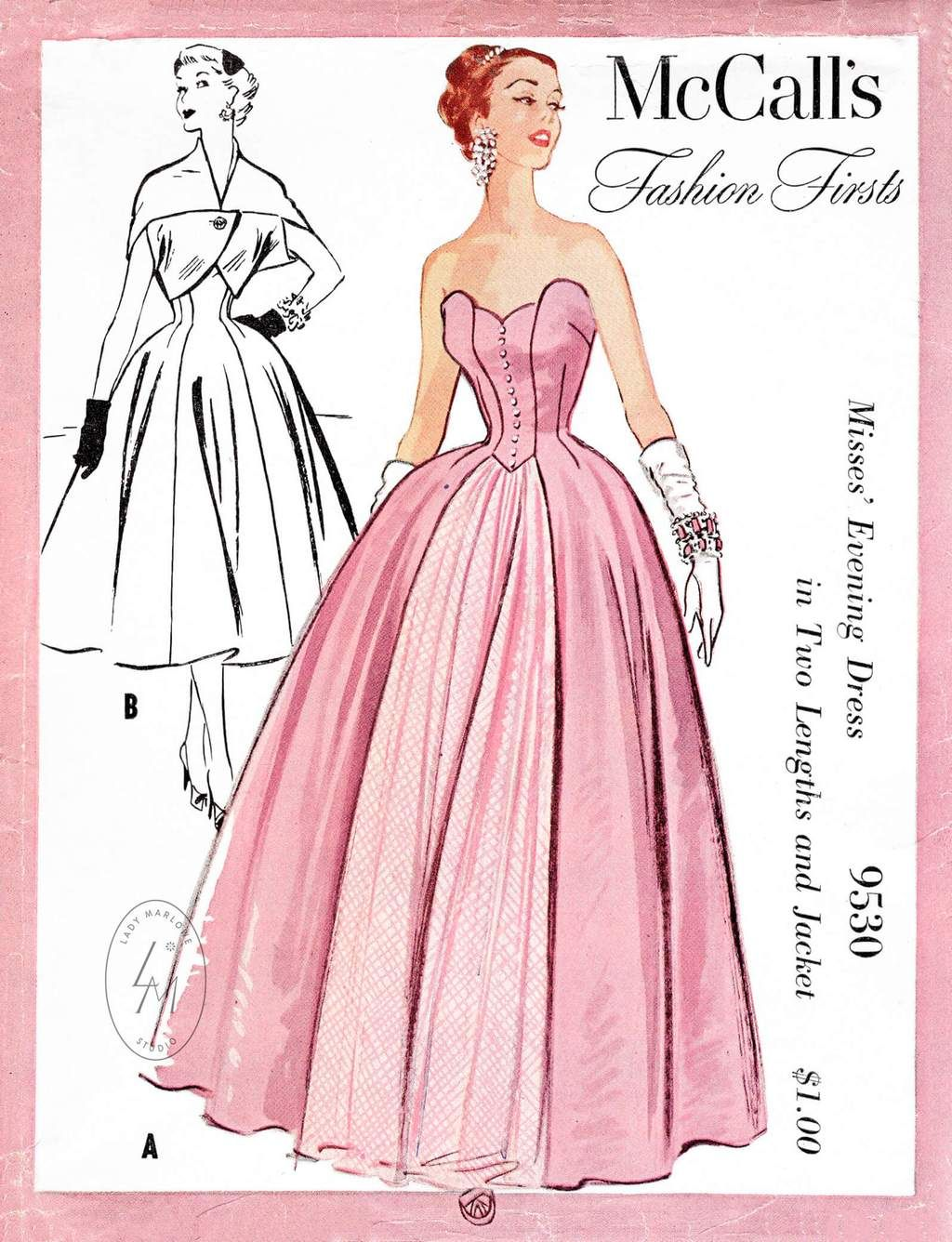 4e7ceb946c 1950s 1953 evening gown or day dress   cocoon jacket vintage sewing pattern  reproduction petal shaped bodice bouffant skirt McCall s 9530