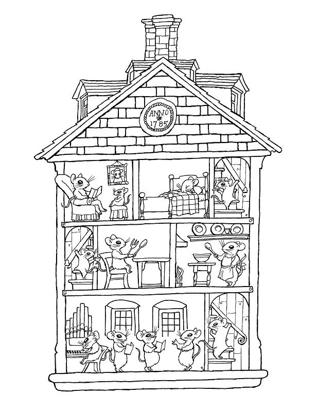Kids House Drawing: Coloring Pages Inside Of The House