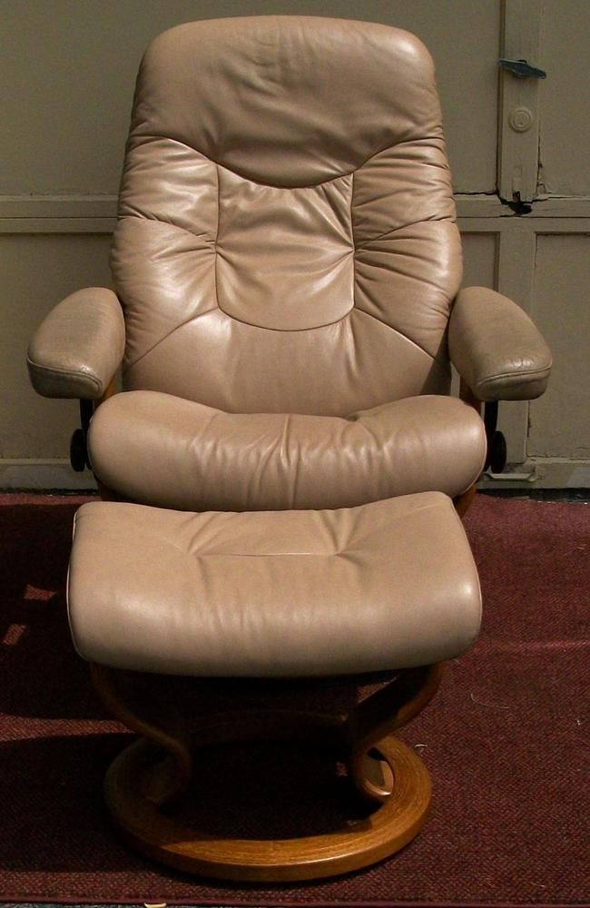 Vintage Mid Modern Ekornes Norway Leather Stressless Reclining Chair U0026  Ottoman