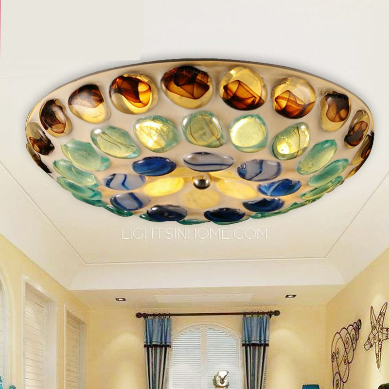 size 40 abafe 196db Multi Color Glass Shade Unique Style Flush Mount Ceiling ...
