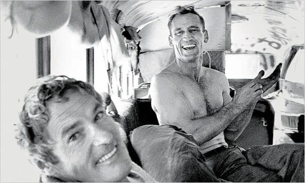 The muse (Neal Cassady) on the right with the mind expander (Timothy Leary) on the left.