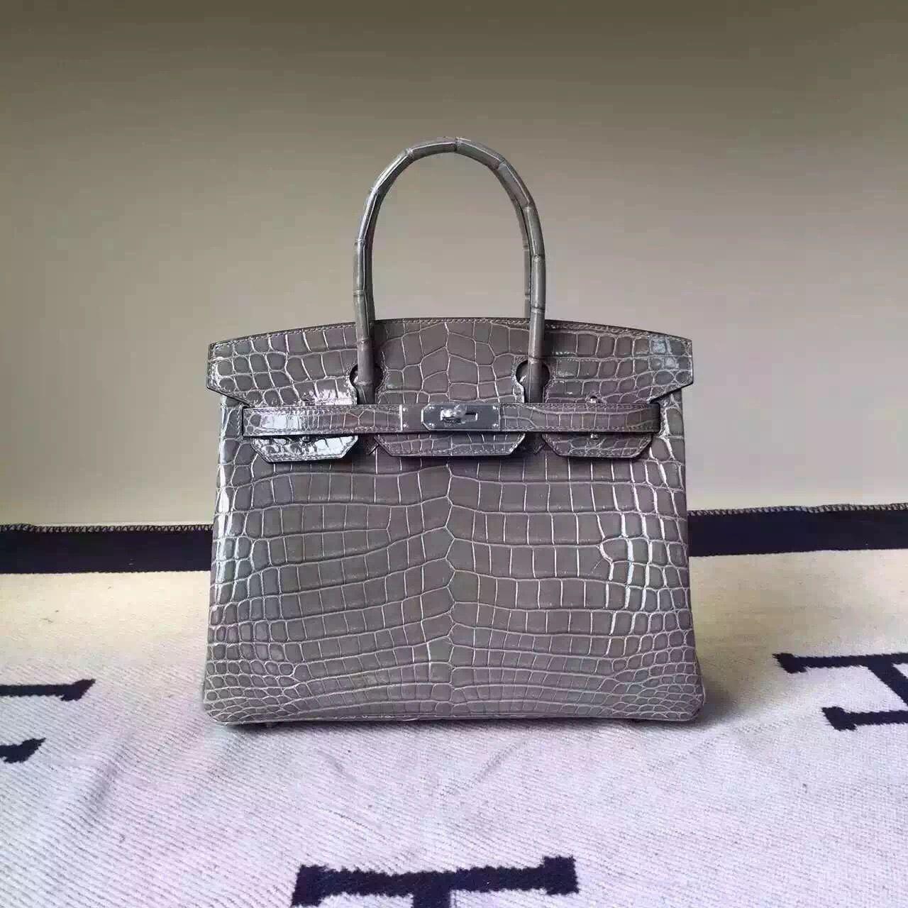 0caa5ff593b0 Hermes Birkin 30 35 Imported Crocodile Leather Bag Dark Gray(SHW ...