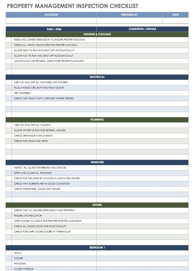 Property Management Inspection Report Template 8 Professional Templates Property Management Free Property Checklist Template