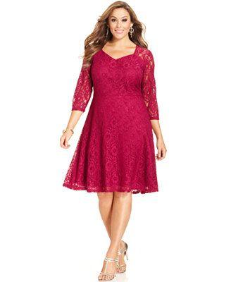 Spense Plus Size Three-Quarter-Sleeve Lace A-Line Dress | fatso ...