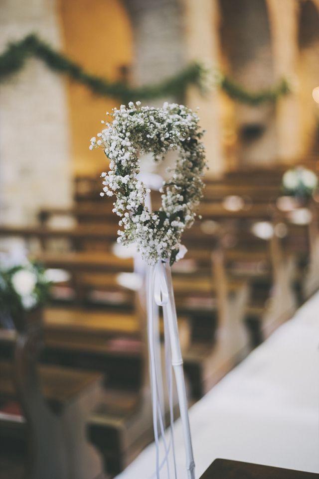 Baby Breath Gyp Gypsophila Heart Flowers Stems Decor Church Pew Bohemian Chic Countryside Wedding Vicenza http://www.weddingcity.it/en