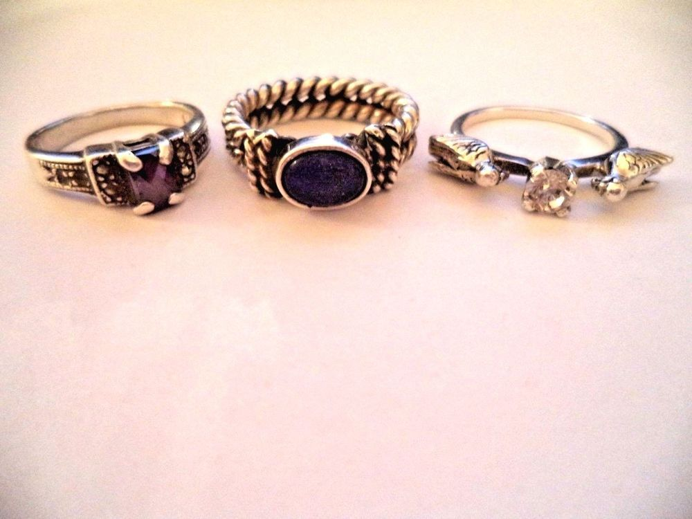 Lot of three rings sterling silver sz.7 blue stone *pretty vintage rings* #Cocktail
