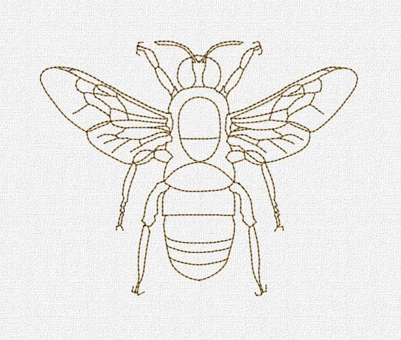 Redwork Bee Machine Embroidery Design Pattern Download 4x4 5x7