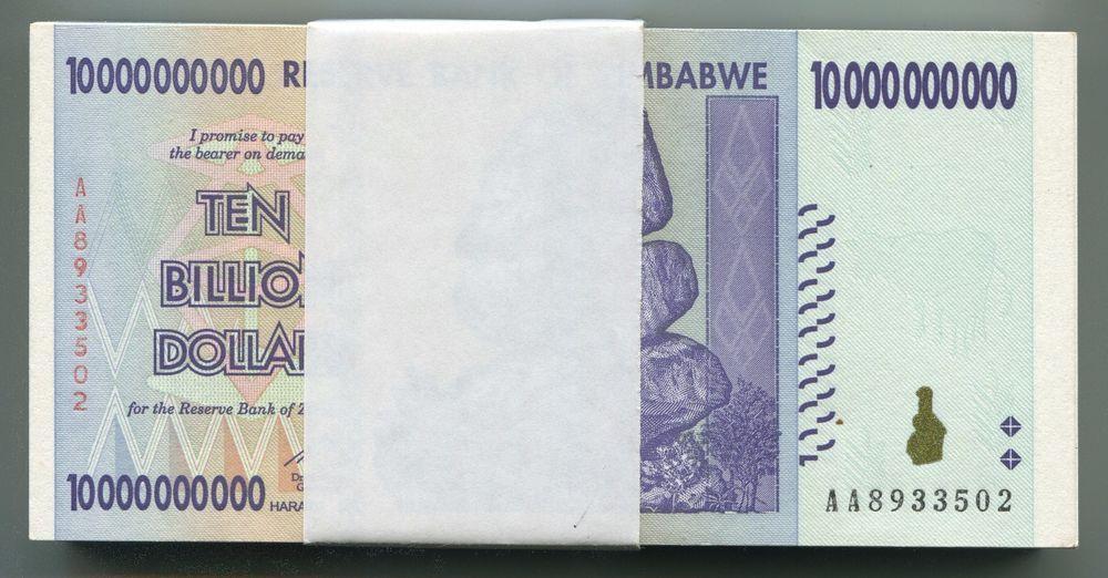 25 x Zimbabwe 1000 dollar bearer cheque banknotes-Uncirculated 1//4  bundle