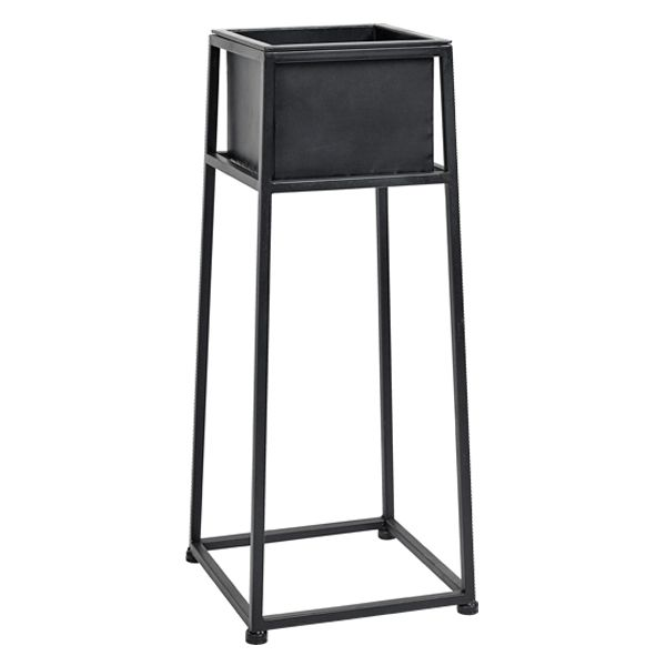 Iron Black Plant Stand for indoor use. The perfect statement piece with it's classic matt black look, use it to showcase your house plants or cacti, whether in your living room, hallway or conservatory! (Lifestyle shows Iron Plant Stand in larger size)