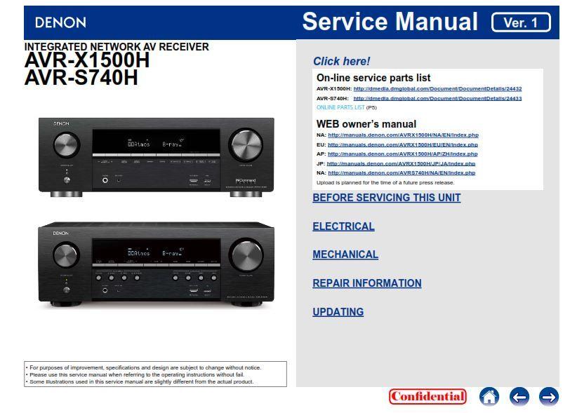 Denon Avr X1500h   S740h A  V Receiver Service Manual