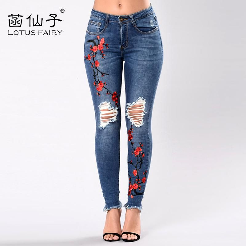 b6c47f79bd1 Embroidery high waist woman jeans skinny Vintage Ripped freddy pants  Stretch pencil female bottom Elastic Denim trousers mujer