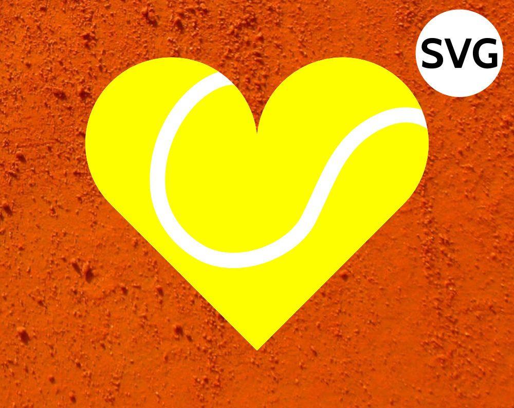 Heart Shaped Tennis Ball Svg Clipart File And Pdf Tennis Silhouette Paper Cricut