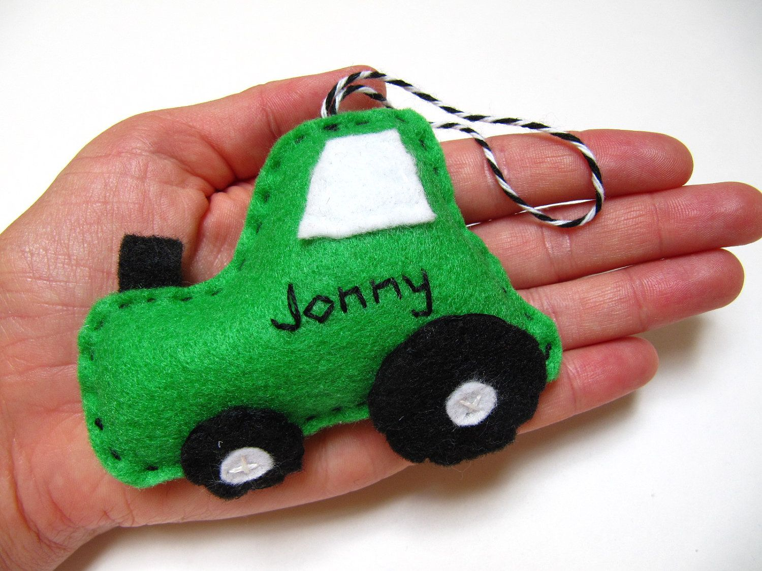 Personalized Tractor Ornament , Felt Christmas Ornament, Tractor Ornament. $13.95, via Etsy.