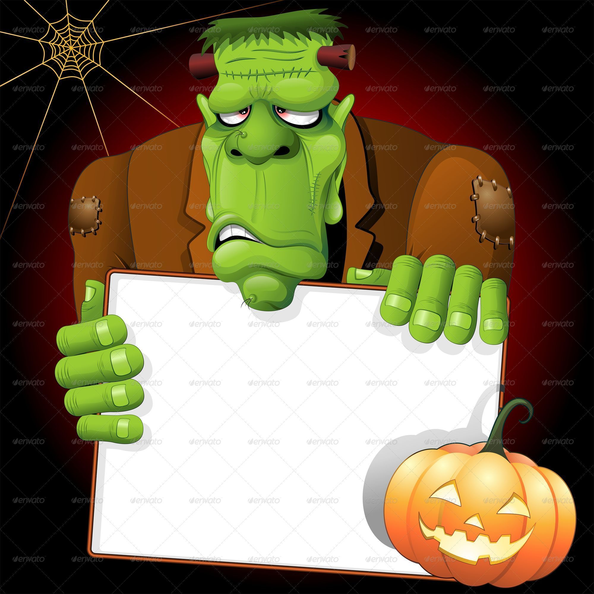 Frankenstein Cartoon with White Panel and Pumpkin