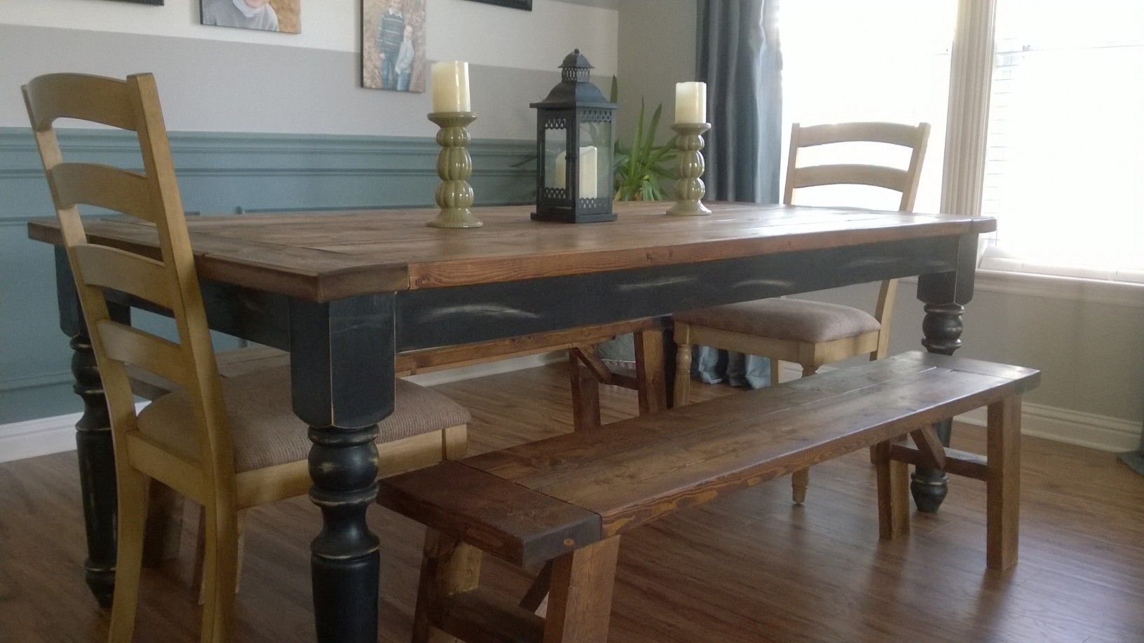 7ft. Farmhouse Table And Benches By Jennau0027s Farmhouse Designu0027s. (chairs  Purchased Separately)