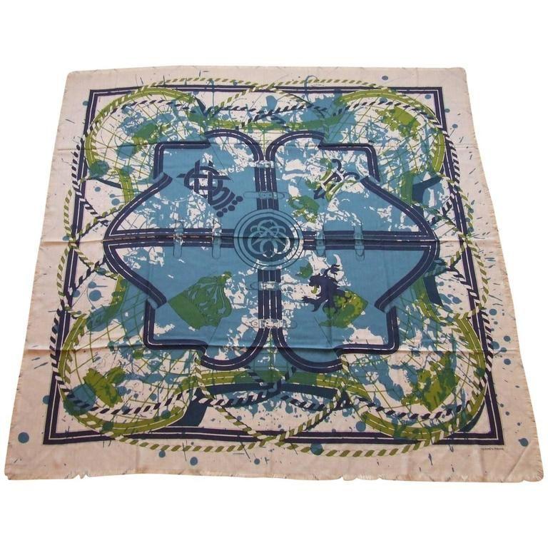 Hermes Scarf Shawl Imprimeur Fou Cashmere Silk Fringed 140 cm