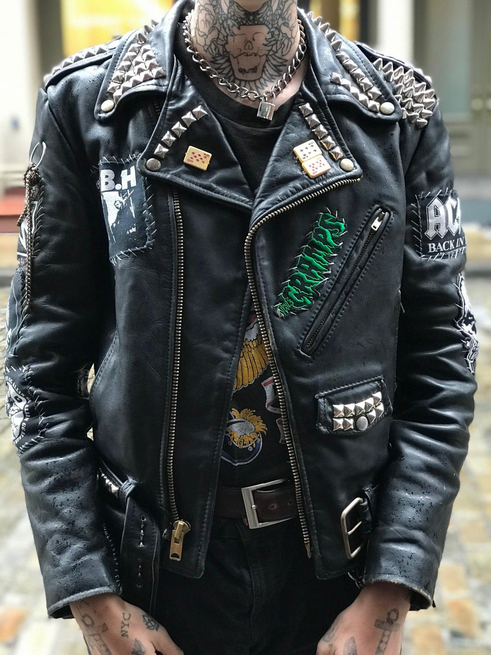 Vintage Punk Leather Studded Moto Jacket Etsy in 2020