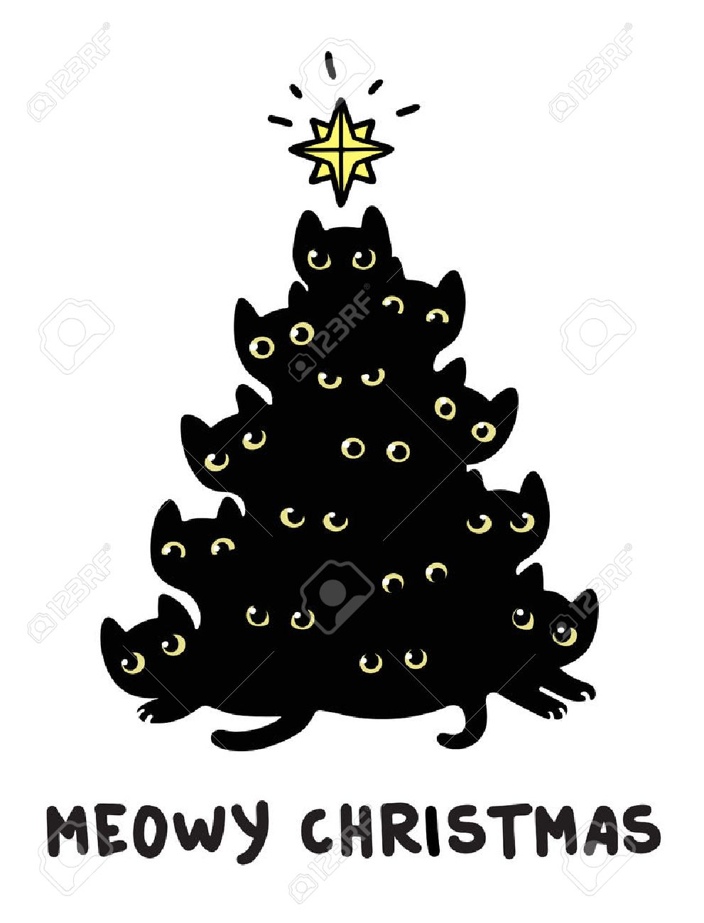 Cute Cartoon Black Cats Christmas Tree Silhouette With Text Meowy Cat Christmas Tree Christmas Drawing Christmas Tree Silhouette