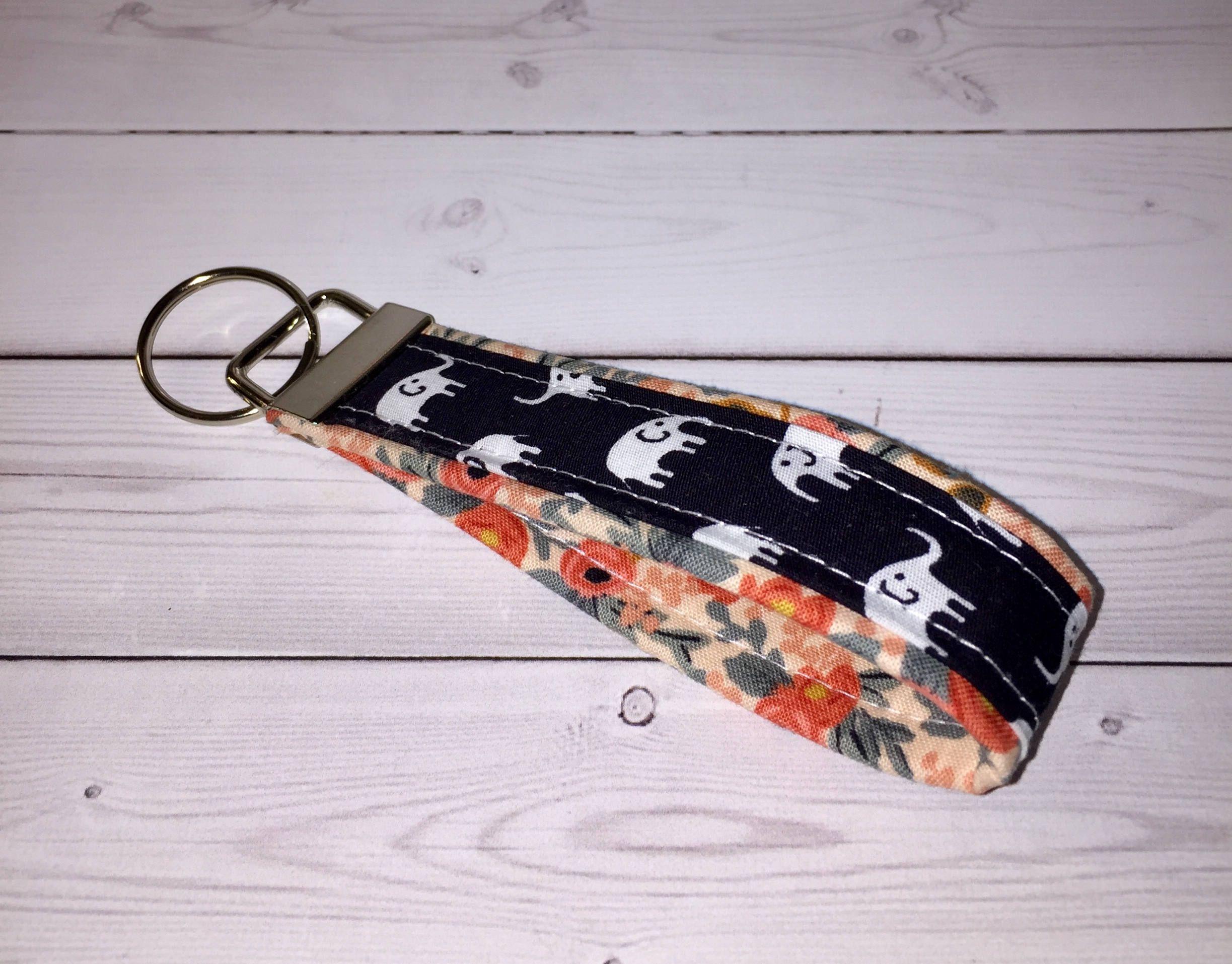 Gray Elephant Keychains Wristlet Fabric Cute Key Fobs Handmade elephants dots