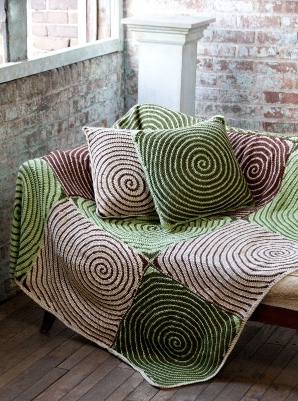 Vortex afghan and pillows--looks like so much fun