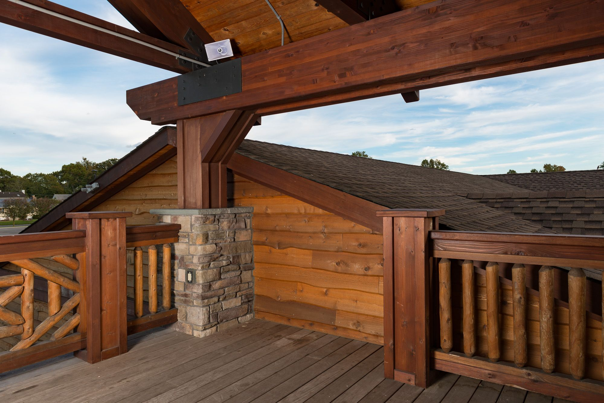 Park Center Wrapped In Our Wavy Edge Bevel Cedar Siding In 2020 Cedar Siding Patio Art Knotty Pine Paneling