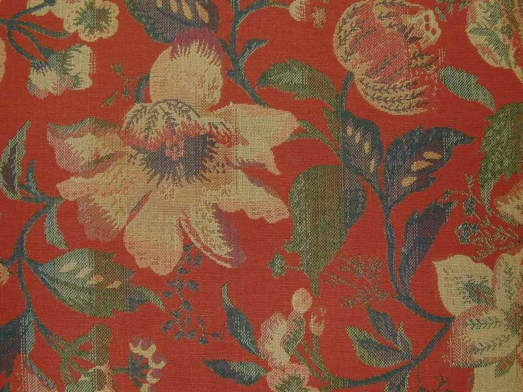 Red Floral Heavyweight Tapestry Upholstery Curtain Fabric The