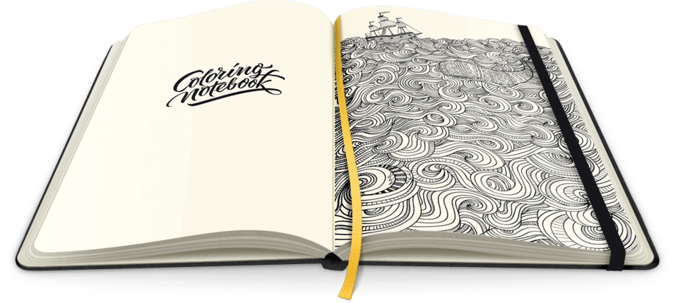 Double Happiness: A Notebook Combined and Adult Coloring Book for Stress-Relief