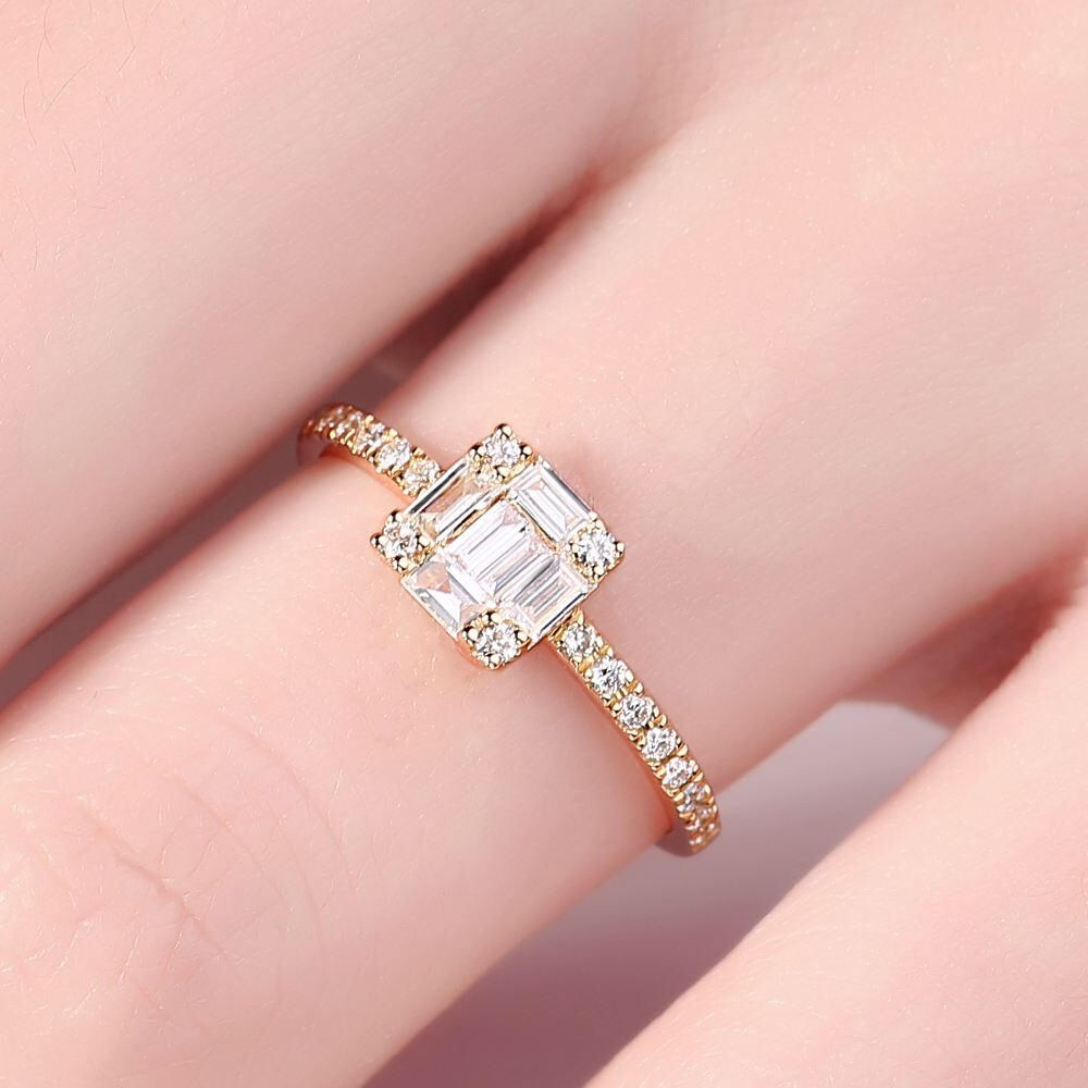 Unique Engagement Ring Diamond engagement ring Women Wedding Cluster ...