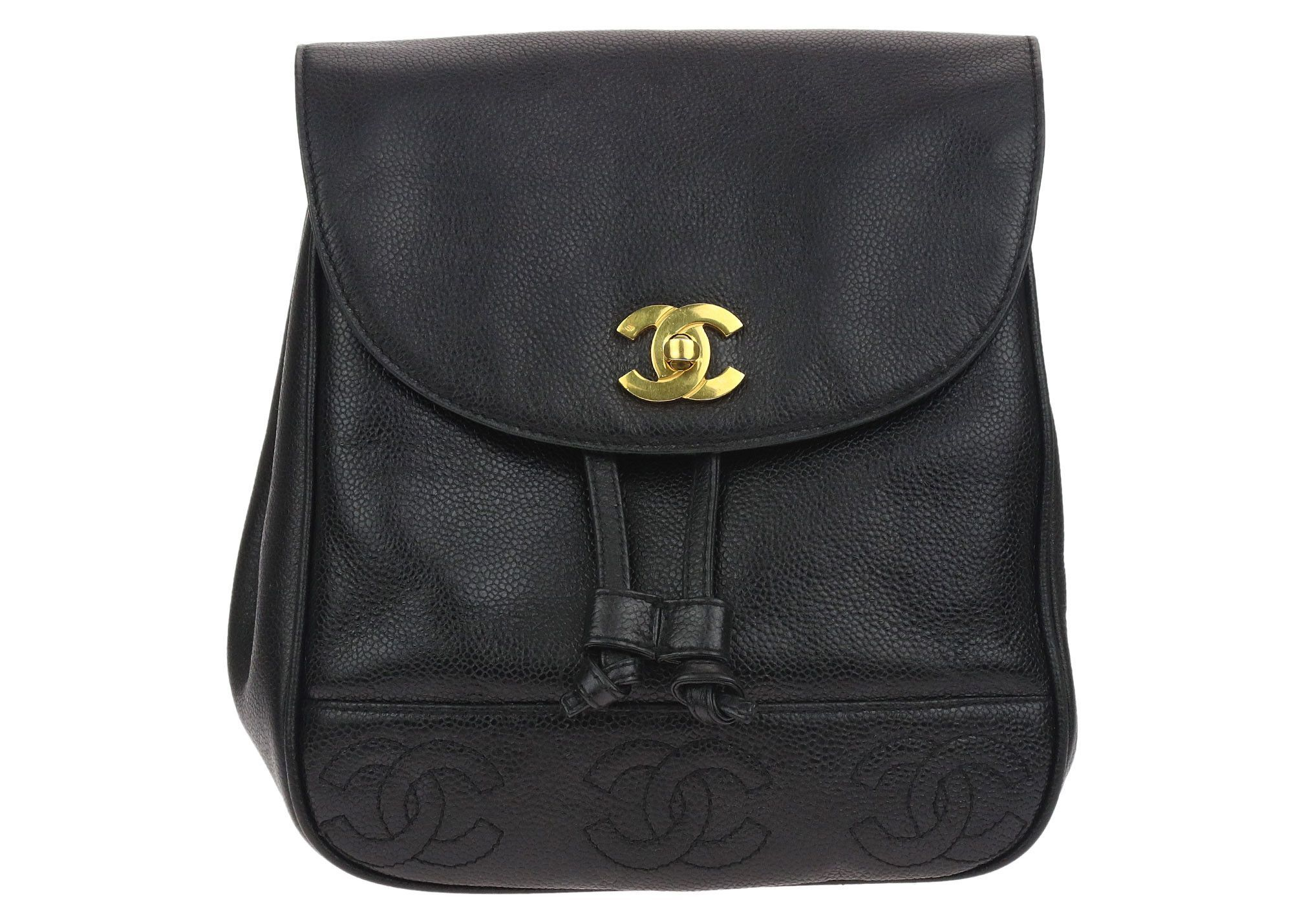 Chanel Vintage CC Logo Black Caviar Leather Backpack  d0d36ebd6f7ef