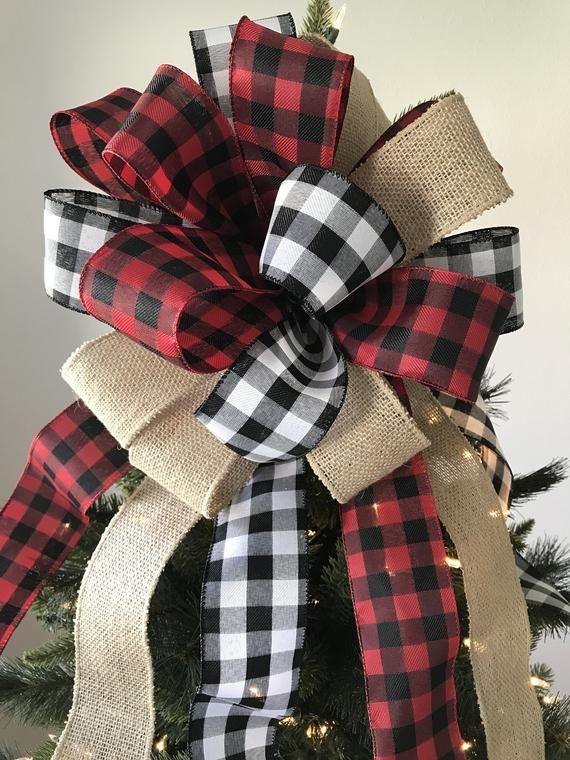 Christmas Tree Topper / Paid Xmas Tree Topper / Buffalo Plaid Red - Black - Burlap Decorative Bow / Buffalo Christmas Tree Topper / Handmade #blackchristmastreeideas
