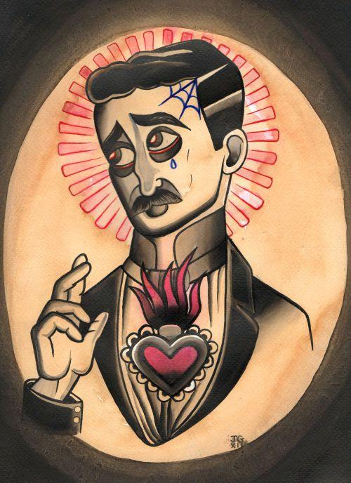 Tattooed Victorian Jesus Tattoo Art Print by CrowsCrossbones, £6.00