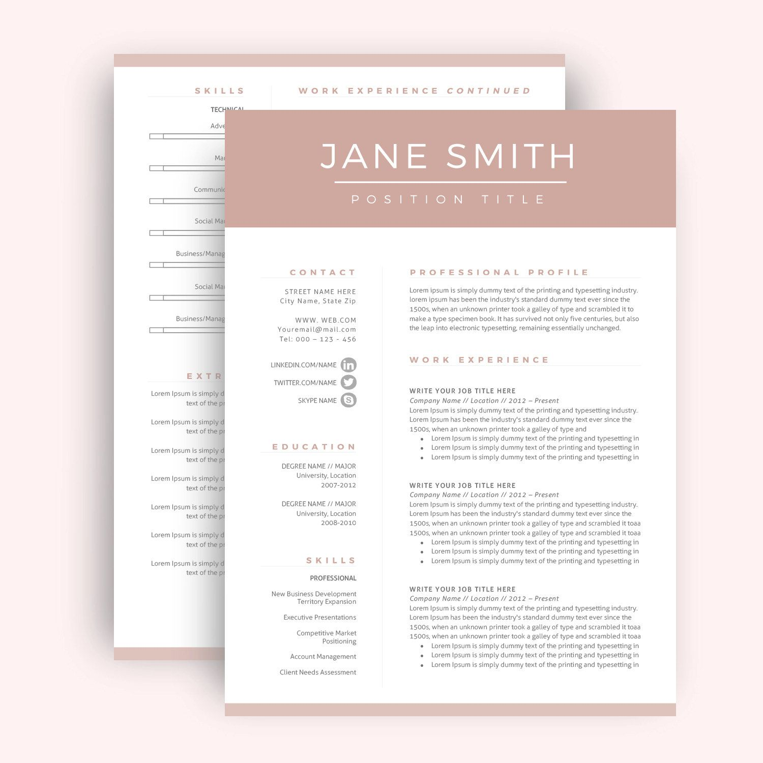 Sample Two Page Resume Professional Resume Template  Cv Template For Word Two Page Resume .
