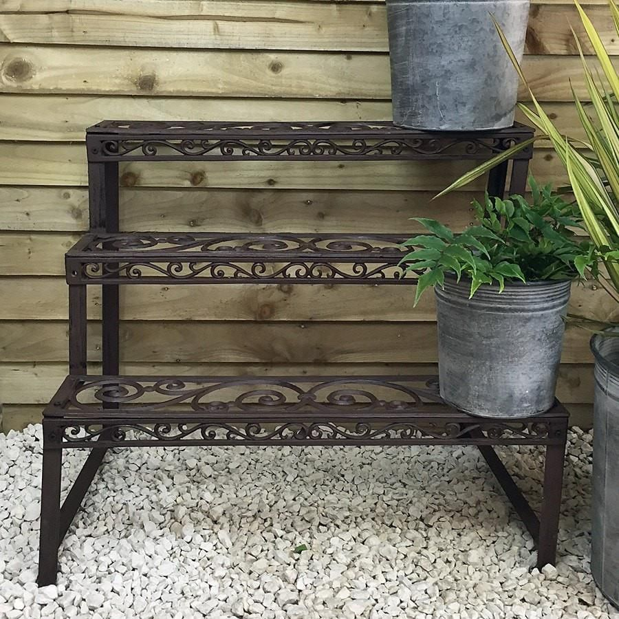 Rustic Cast Iron 3 Tiered Garden Plant