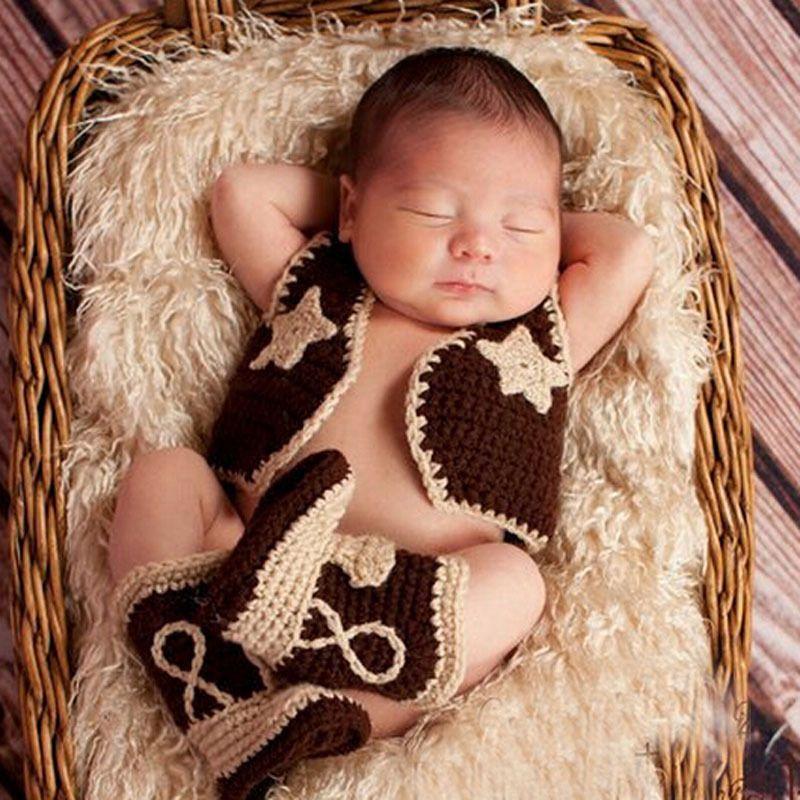 Bebé botas de vaquero y chaleco Crochet Set modelo infantil traje traje de  punto recién nacido fotografía apoyo de la foto H187(China (Mainland)) 8947f5dbc70