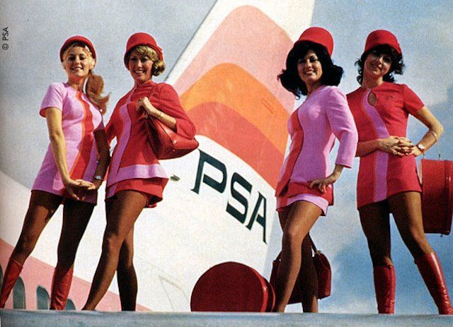 These flight attendant uniforms from the 70s BLOW MY MIND!