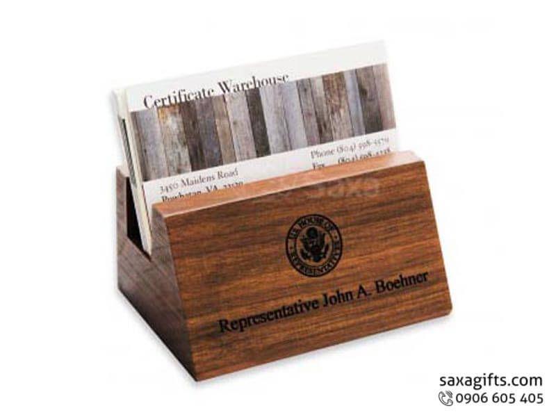 Hộp namecard gỗ in logo để bàn – NG005