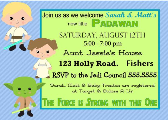 digital star wars baby shower invitation by spencervillejunction, Baby shower invitations