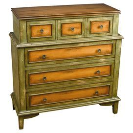 "Brimming with artful craftsmanship and captivating design, this on-trend piece transforms your home into an inviting retreat.    Product: Chest  Construction Material: Solid hardwood and composite  Color: Distressed green and brown   Features:     Painted faux wood top   Four drawers with brown painted insets and accents        Dimensions: 38.5"" H x 36"" W x 15"" D"