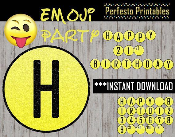 Printable Emoji Happy Birthday Banner Yellow Gold Black Bunting DIY Party Decoration