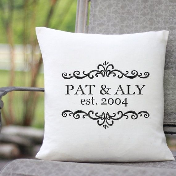 Personalized Wedding Gift Pillow With Embroidered Monogram Family Name Elished Date House