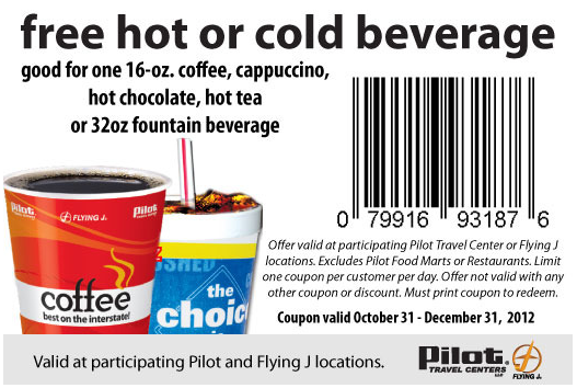 image relating to Printable Gas Coupons identified as Absolutely free 32oz consume or espresso at Pilot Generate Facilities Traveling J