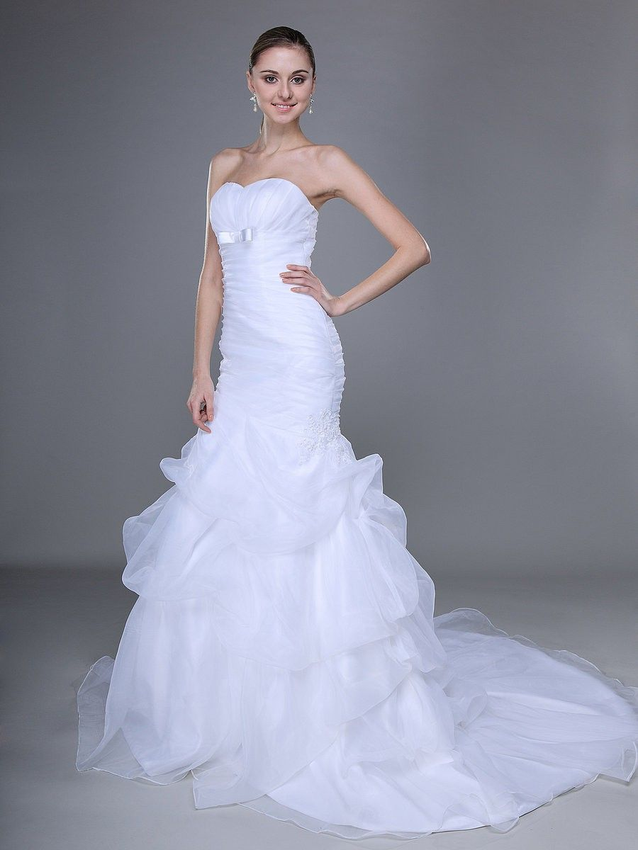 Wedding dress with color  WrappedBodiceRuffledMermaidWeddingDress   wedding ideas