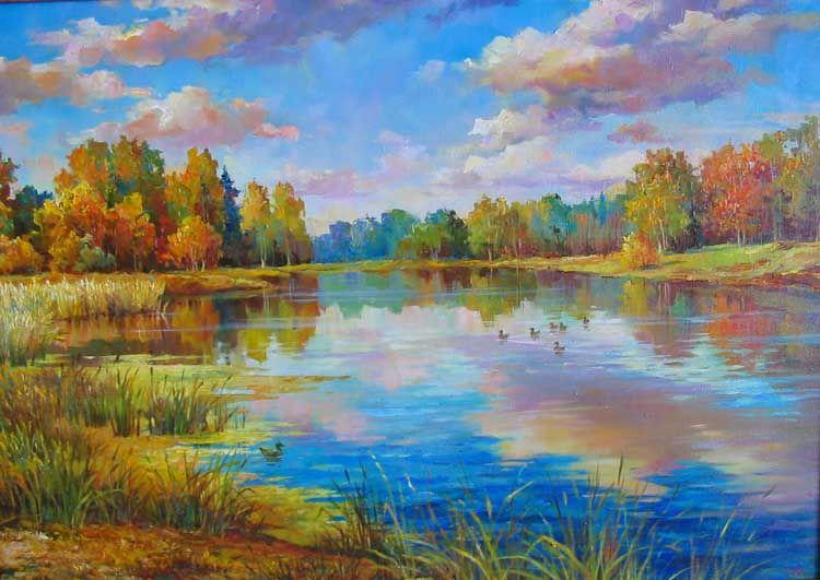 Картина маслом на холсте «Золотая осень» | Живопись ...